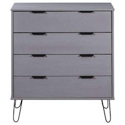 Byrå grå 76,5x39,5x90,3 cm massiv furu