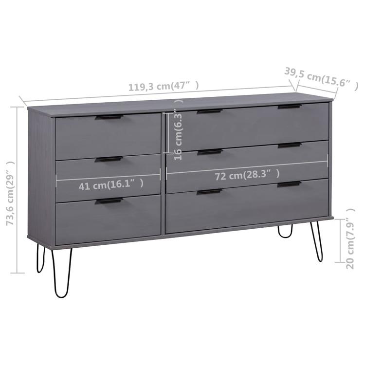 Byrå grå 119,3x39,5x73,6 cm massiv furu