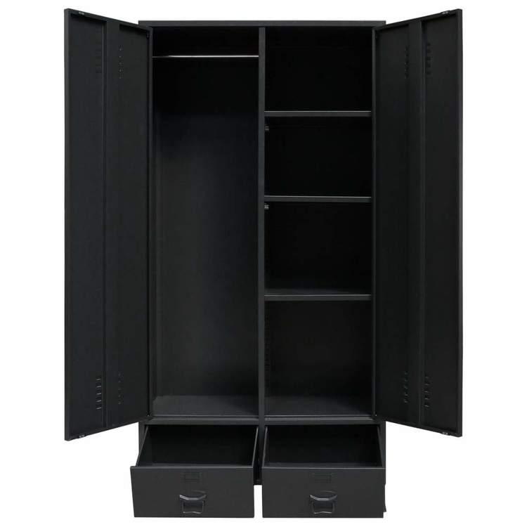 Garderob industriell stil metall 90x40x180 cm svart