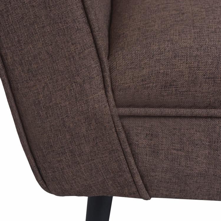 Fåtölj brun stål och tyg