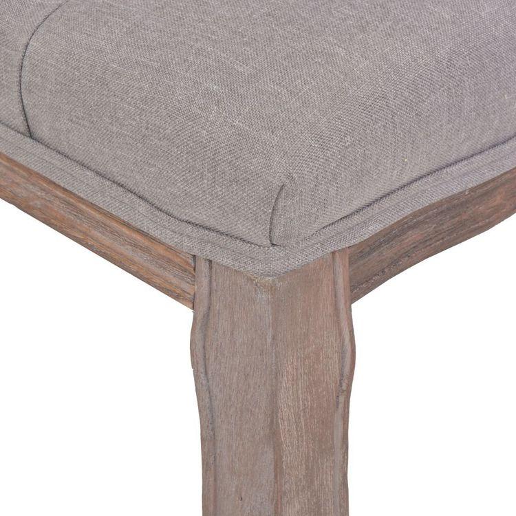 Bänk massivt trä och linnetyg 110x38x48 cm ljusgrå