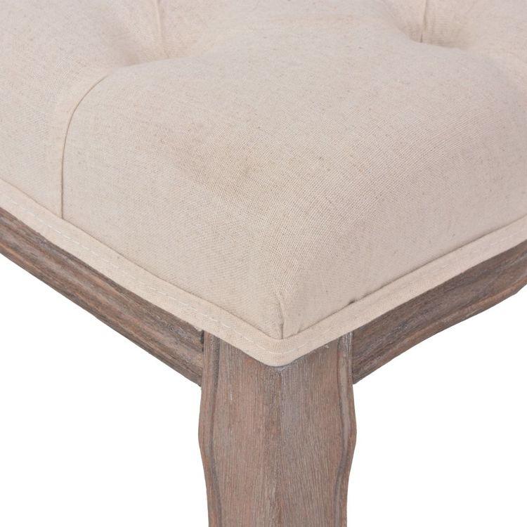 Bänk massivt trä och linnetyg 110x38x48 cm gräddvit