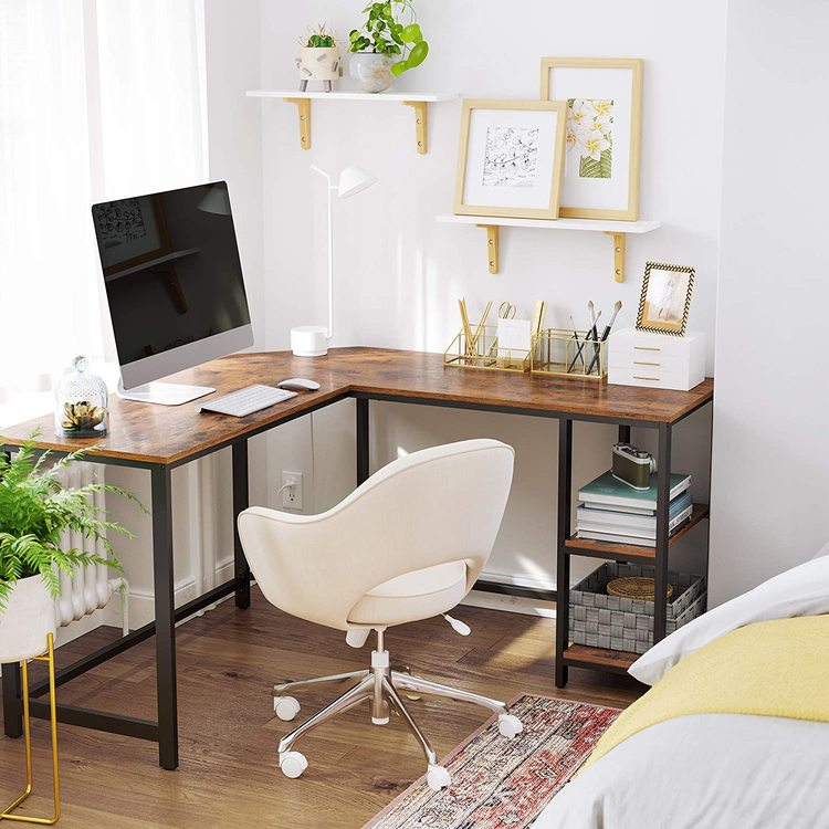 Vasagle Hörnskrivbord Rustik Med Förvaring