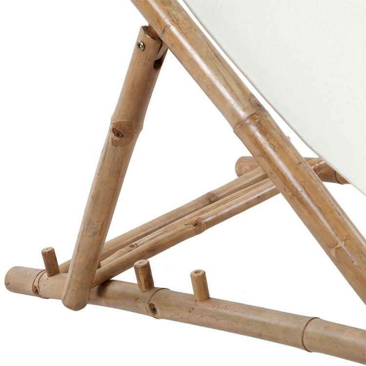 Solstol bambu och kanvas