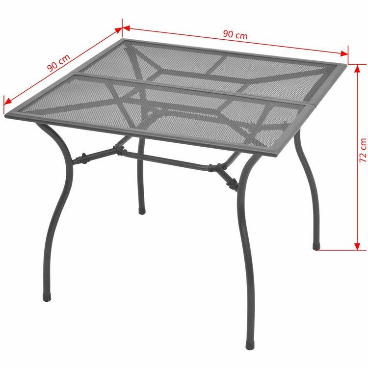 Trädgårdsbord 90x90x72 cm stålnät