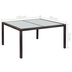 Trädgårdsbord 150x90x75 cm brun konstrotting och glas