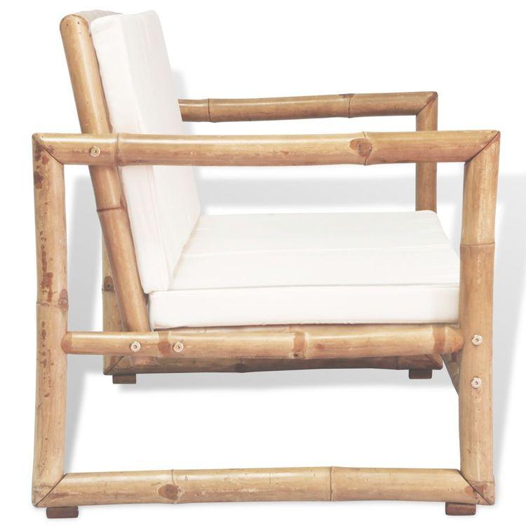 Trädgårdssoffa 2-sits med dynor bambu