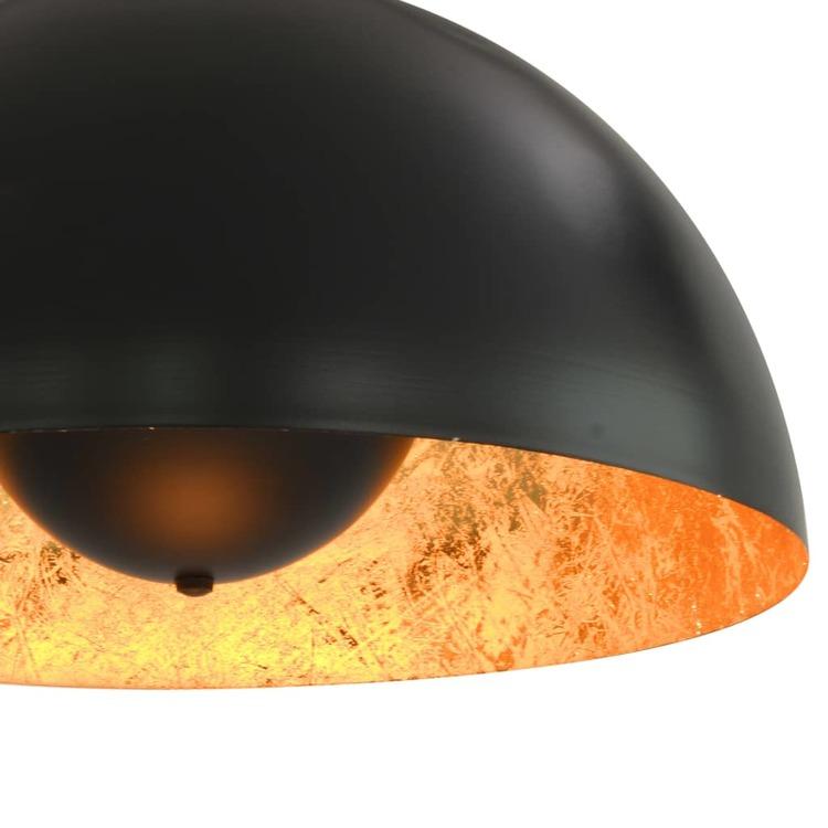 Taklampor 2 st svart och guld halvrund 40 cm E27