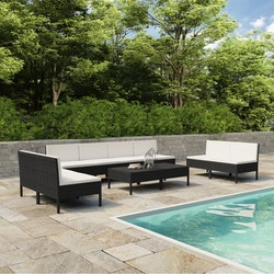 Loungegrupp för trädgården med dynor 10 delar konstrotting svart