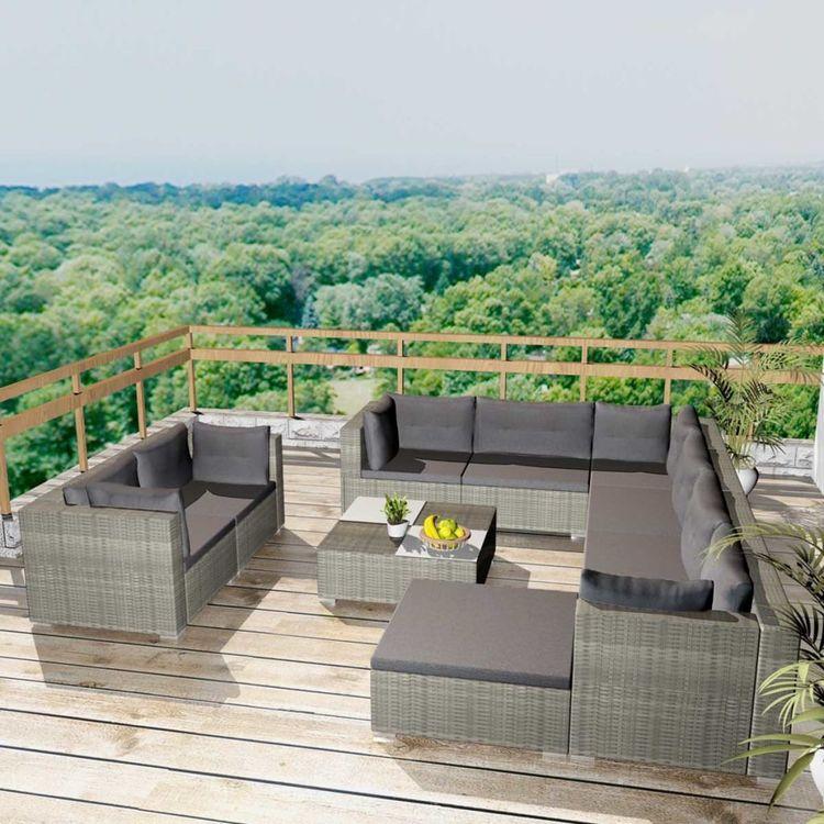 Loungegrupp för trädgården med dynor 10 delar konstrotting grå