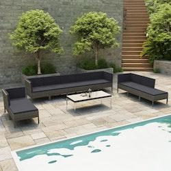Loungegrupp för trädgården 10 delar med dynor konstrotting grå