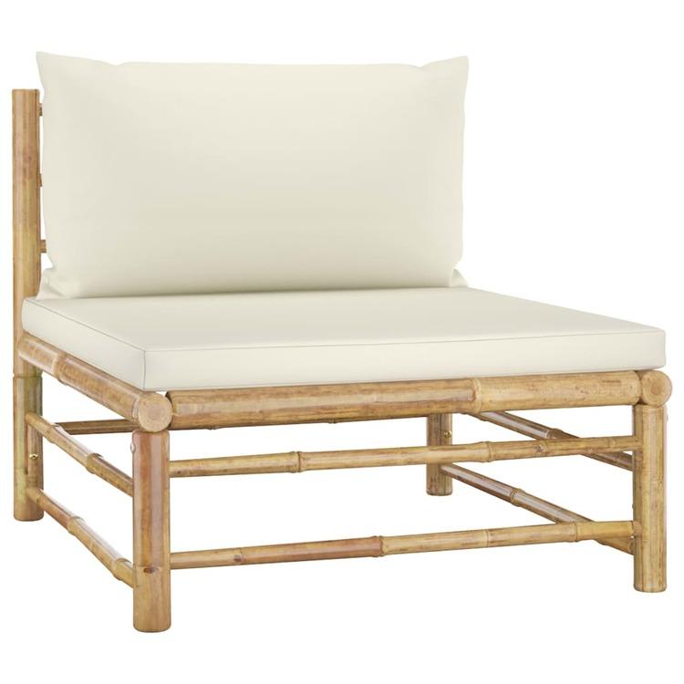 Loungegrupp för trädgården med gräddvita dynor 10 delar bambu