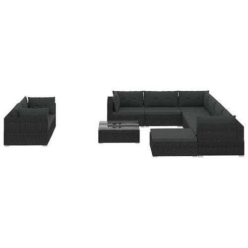 Loungegrupp för trädgården m. dynor 10 delar konstrotting svart