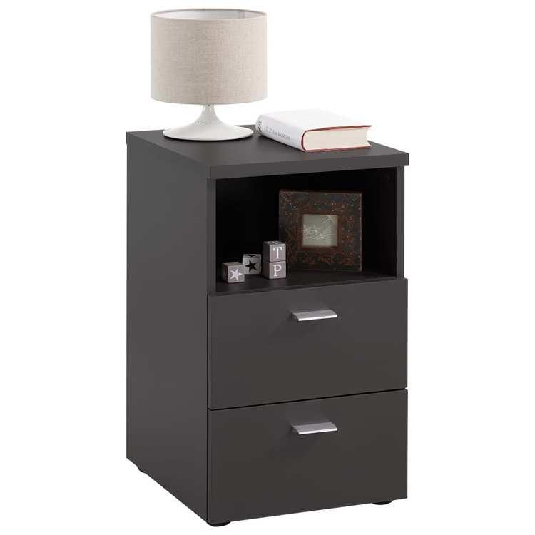 FMD Sängbord med 2 lådor och öppen hylla svart