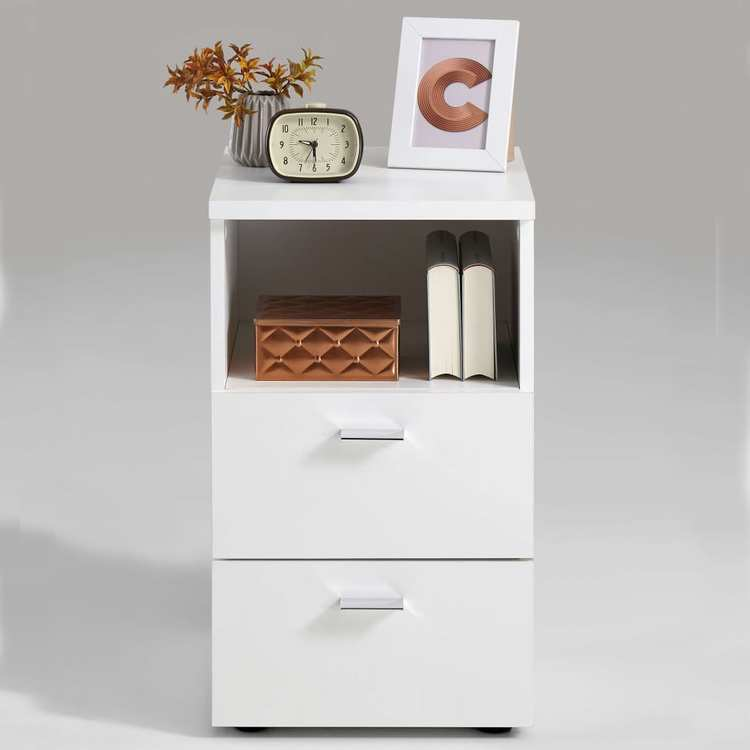 FMD Sängbord med 2 lådor och öppen hylla vit