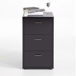 FMD Sängbord med 3 lådor svart