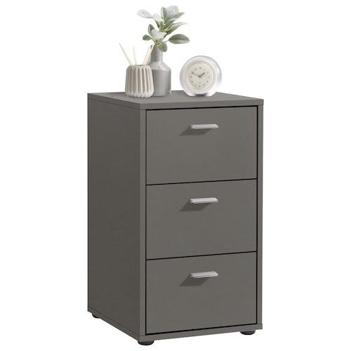 FMD Sängbord med 3 lådor lavagrå
