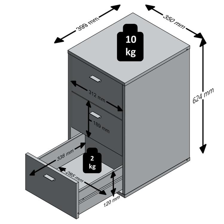 FMD Sängbord med 3 lådor vit