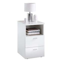 FMD Nattduksbord med 2 lådor vit högglans