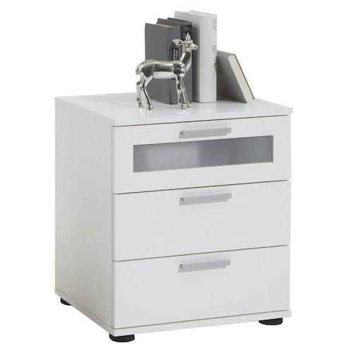 FMD Nattduksbord med 3 lådor vit