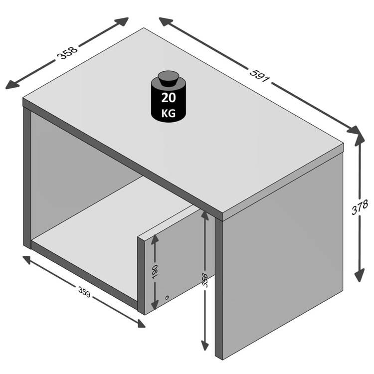 FMD Soffbord 2-i-1 59,1x35,8x37,8 cm ljus ek
