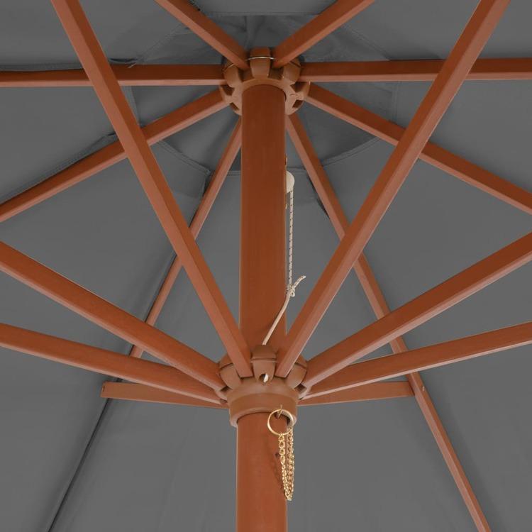 Trädgårdsparasoll med trästång 300 cm antracit