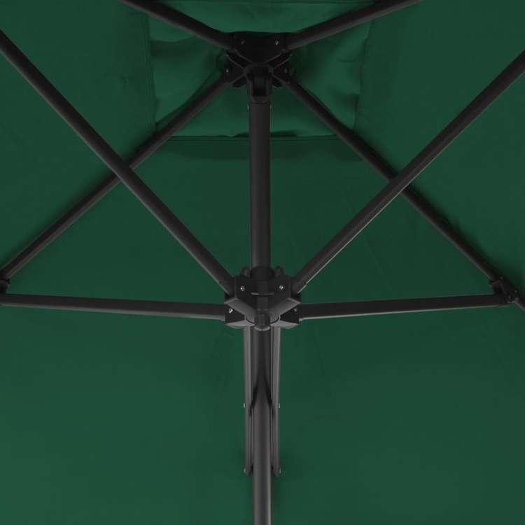 Trädgårdsparasoll med stålstång 250x250 cm grön
