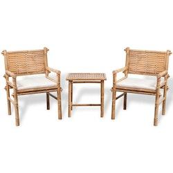 Caféset med dynor 3 delar bambu