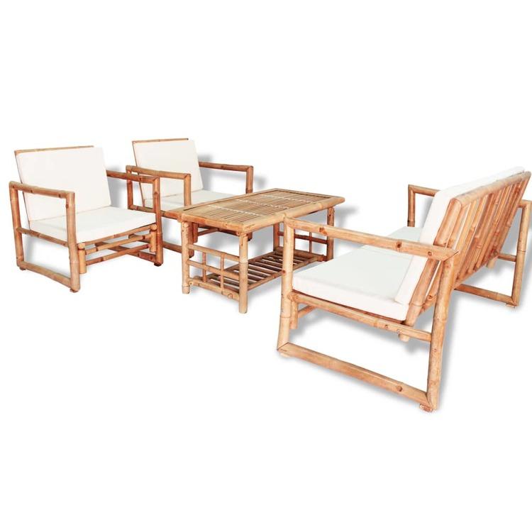 Loungegrupp för trädgården med dynor 4 delar bambu