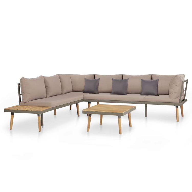 Loungegrupp för trädgården med dynor 4 delar akaciaträ brun