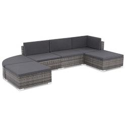 Loungegrupp för trädgården m. dynor 6 delar konstrotting grå