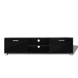 TV-bänk högglans svart 140x40,3x34,7 cm