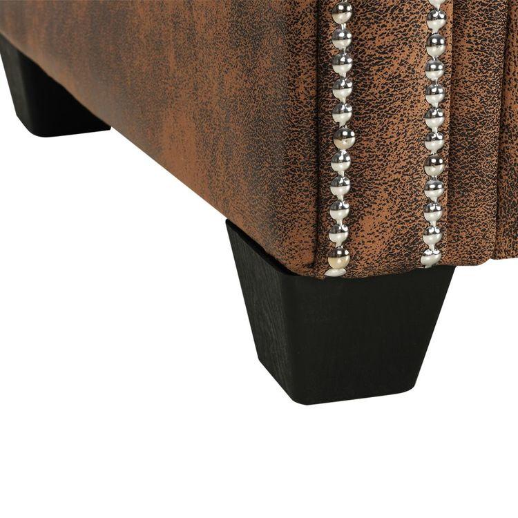 L-formad Chesterfieldsoffa konstmocka brun