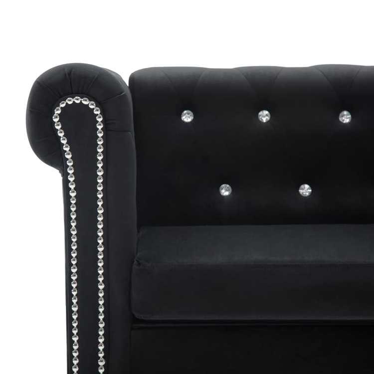 Chesterfieldsoffa 3-sits sammet 199x75x72 cm svart