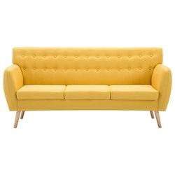 3-sitssoffa med tygklädsel 172x70x82 cm gul
