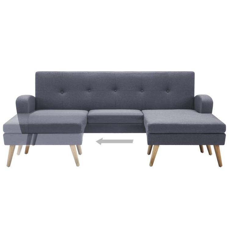 Soffa L-formad tygklädsel 186x136x79 cm ljusgrå