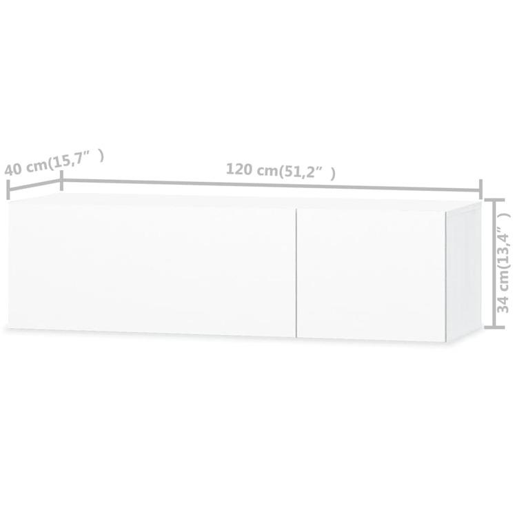 TV-möbel spånskiva 120x40x34 cm vit högglans