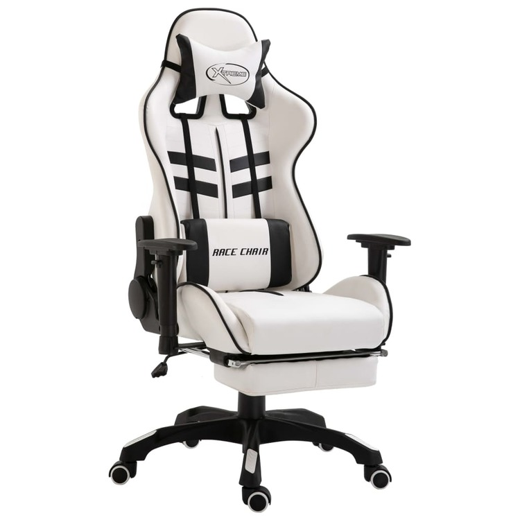 Gamingstol med fotstöd svart konstläder