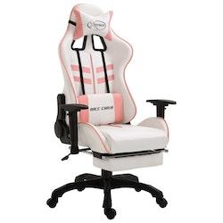 Gamingstol med fotstöd rosa konstläder