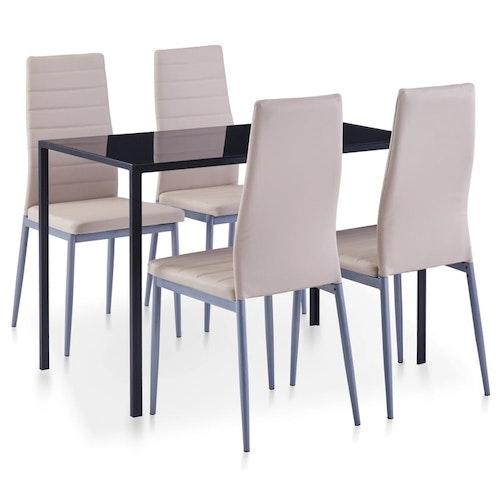 Matbord och stolar 5 delar cappuccino