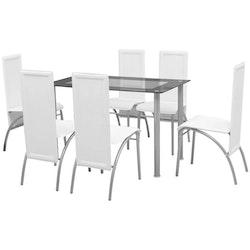 Matbord och stolar 7 delar vita