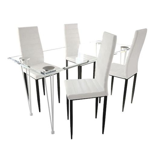 Matgrupp 4 stolar med 1 glasbord