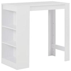 Barbord med hylla vit 110x50x103 cm