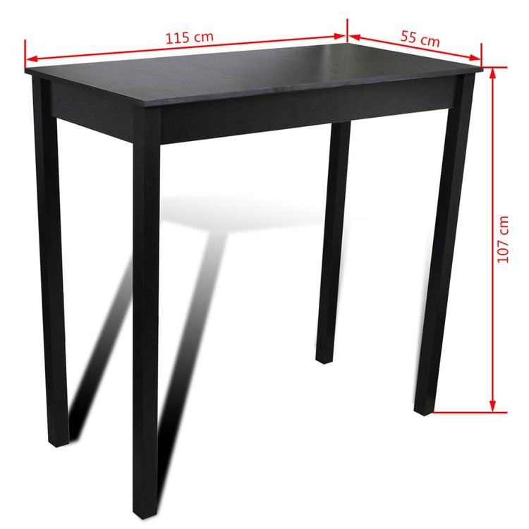 Barbord MDF svart 115x55x107 cm