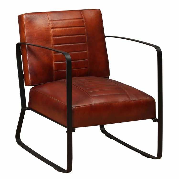 Loungefåtölj brun äkta läder