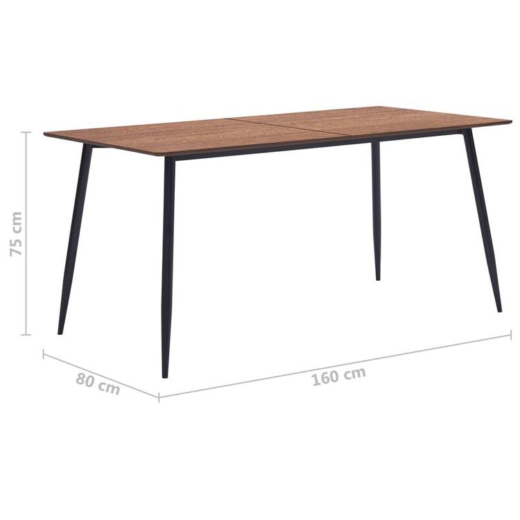 Matbord brun 160x80x75 cm MDF