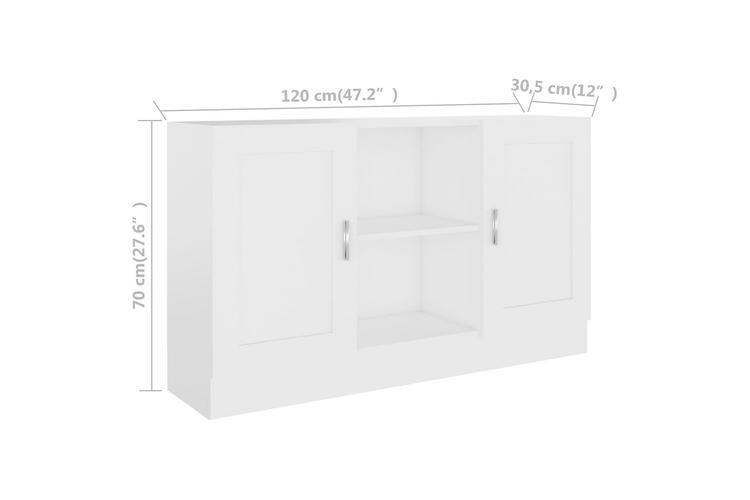 Skänk vit 120x30,5x70 cm spånskiva