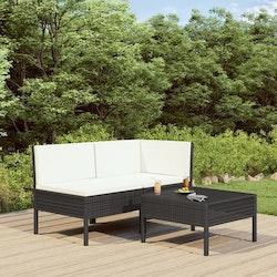 Loungegrupp för trädgården med dynor 3 delar konstrotting svart