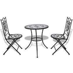 Caféset 3 delar keramik svart och vit
