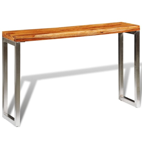 Konsolbord i massivt sheshamträ med stålben